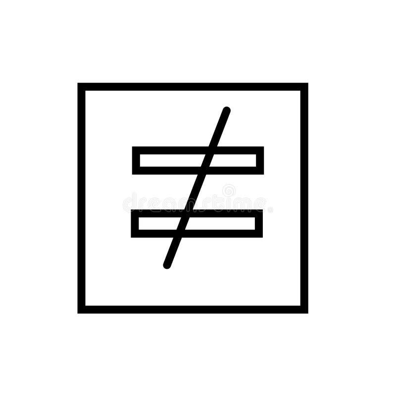 Is niet gelijk aan pictogramvector op witte achtergrond wordt geïsoleerd, is niet gelijk aan teken, lijn en schetsen elementen in royalty-vrije illustratie