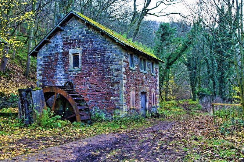 Niet meer gebruikte Molen, door de Riviery, dichtbij Ashford, Derbyshire stock fotografie