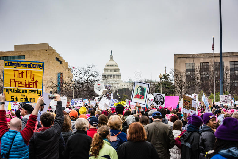 Niet Mijn Voorzitter - Maart van Vrouwen - Washington DC stock foto's