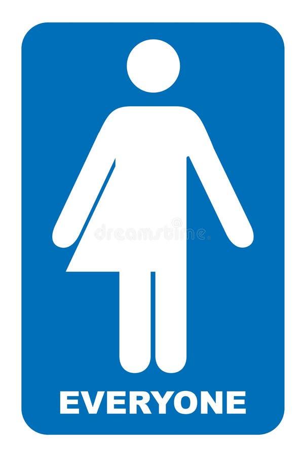 Niet sexistisch teken Het teken van het transsexueeltoilet Vector illustratie Blauw die symbool op wit wordt geïsoleerd Verplicht stock illustratie