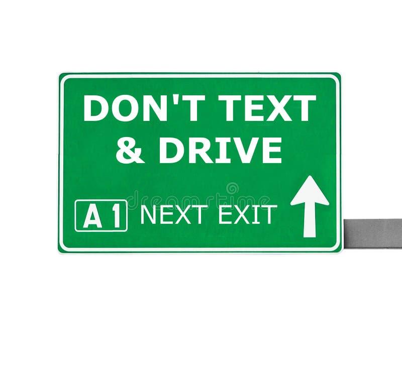 niet TEKST & DRIVE verkeersteken die op wit worden geïsoleerd royalty-vrije stock afbeeldingen