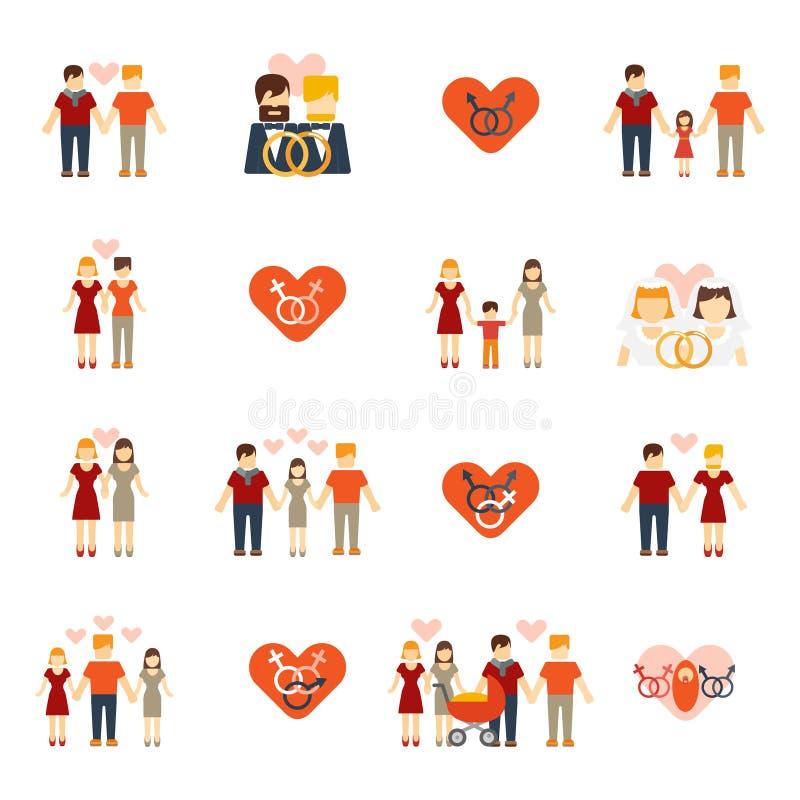 Niet-traditionele familiepictogrammen geplaatst vlak vector illustratie