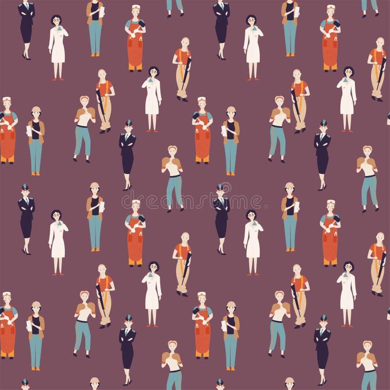 Niet vrouwelijke beroepen Patroon van de uitdaging van vrouwelijke beroepen, de wetenschapper van beeldverhaalkarakters, politiea royalty-vrije illustratie