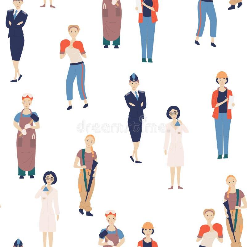 Niet vrouwelijke beroepen Patroon van de uitdaging van vrouwelijke beroepen, de wetenschapper van beeldverhaalkarakters, politiea stock illustratie