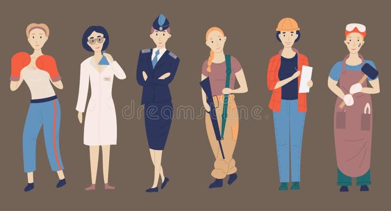 Niet vrouwelijke beroepen Seth van de uitdaging van vrouwelijke beroepen, de wetenschapper van beeldverhaalkarakters, politieagen vector illustratie