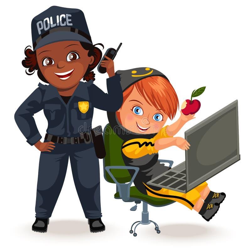 Niet vrouwelijke beroepen, sterke vrouwenpolitieman eenvormig met het houden van radioreeks en programmeurshakker programmerend vector illustratie