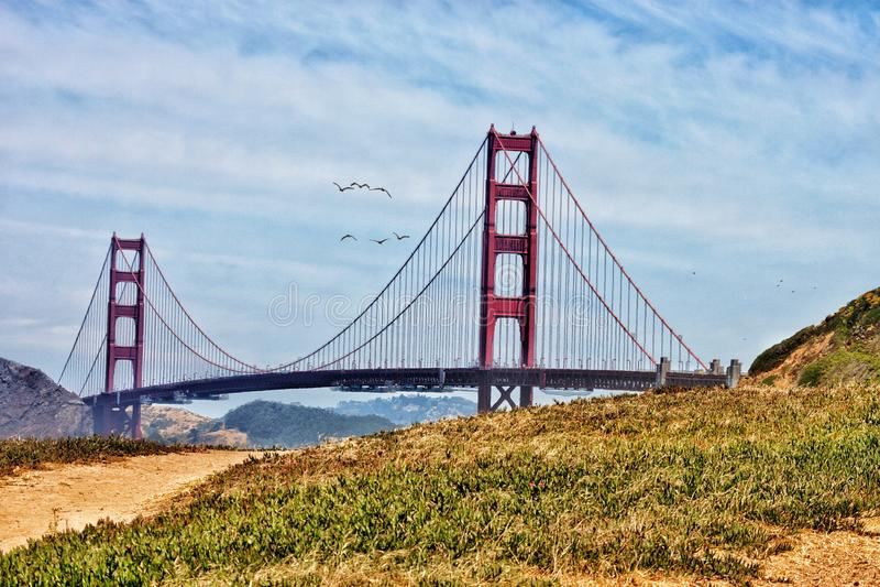 Niet zo golden gate bridge stock foto's