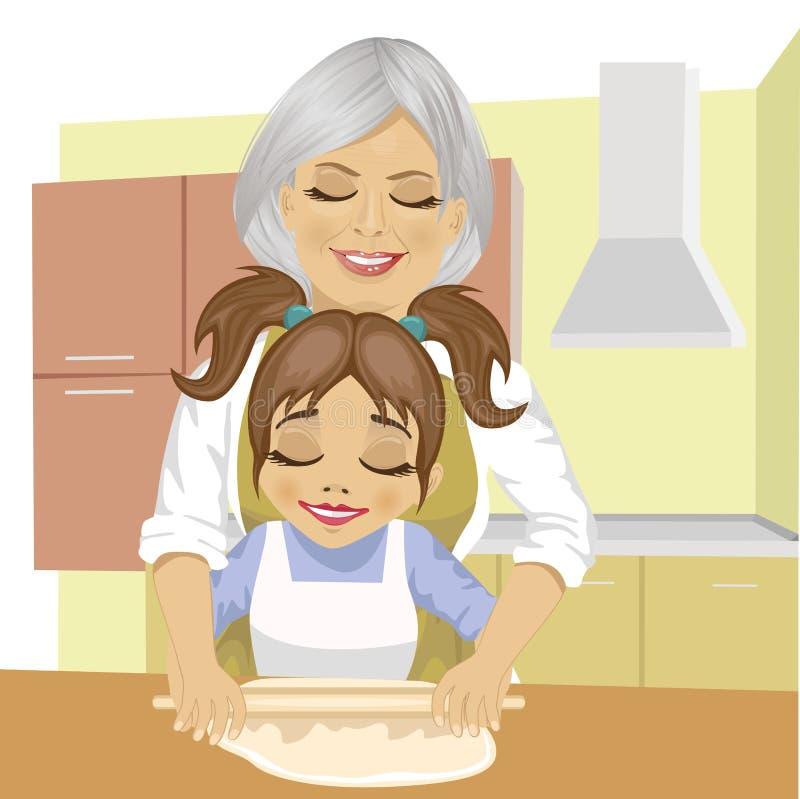 Nieta de enseñanza de la abuela cómo desarrollar la pasta para cocinar la pizza en cocina stock de ilustración