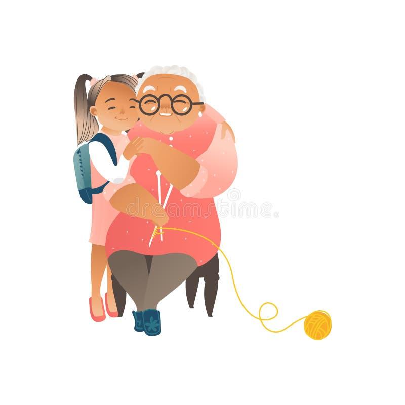 Nieta que abraza su ejemplo plano del vector de la abuela aislado en blanco stock de ilustración