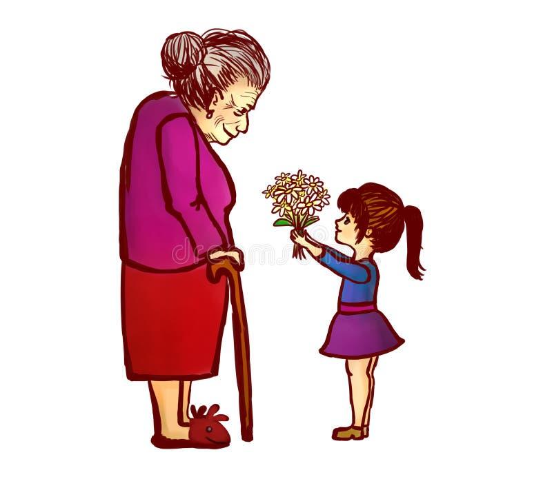 Nieta que da las flores a la abuela ilustración del vector
