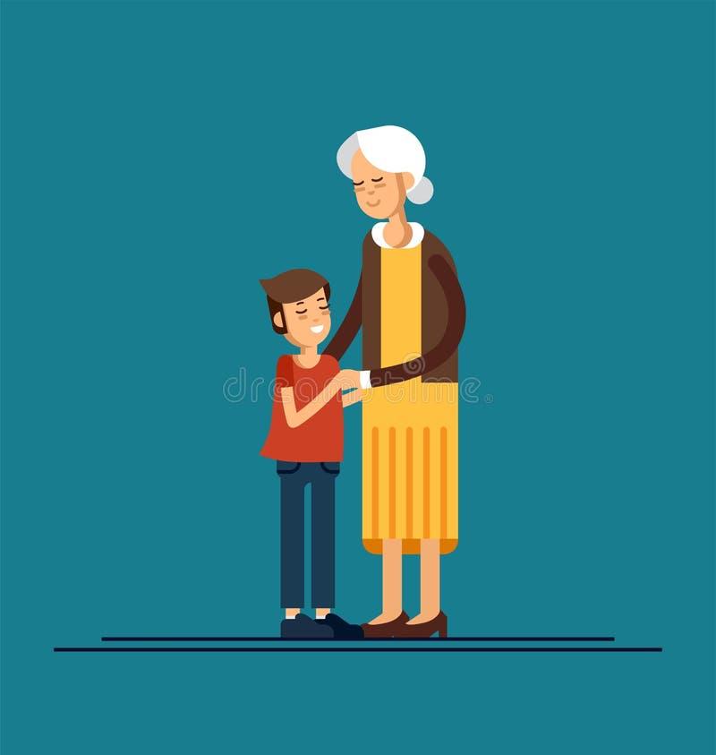 Nieto que abraza a su abuela Ilustración del vector stock de ilustración