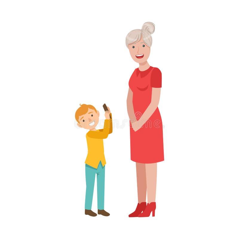 Nieto que muestra Smartphone a la abuela, a la parte del abuelo y al nieto que pasa ejemplos juntos fijados del tiempo ilustración del vector
