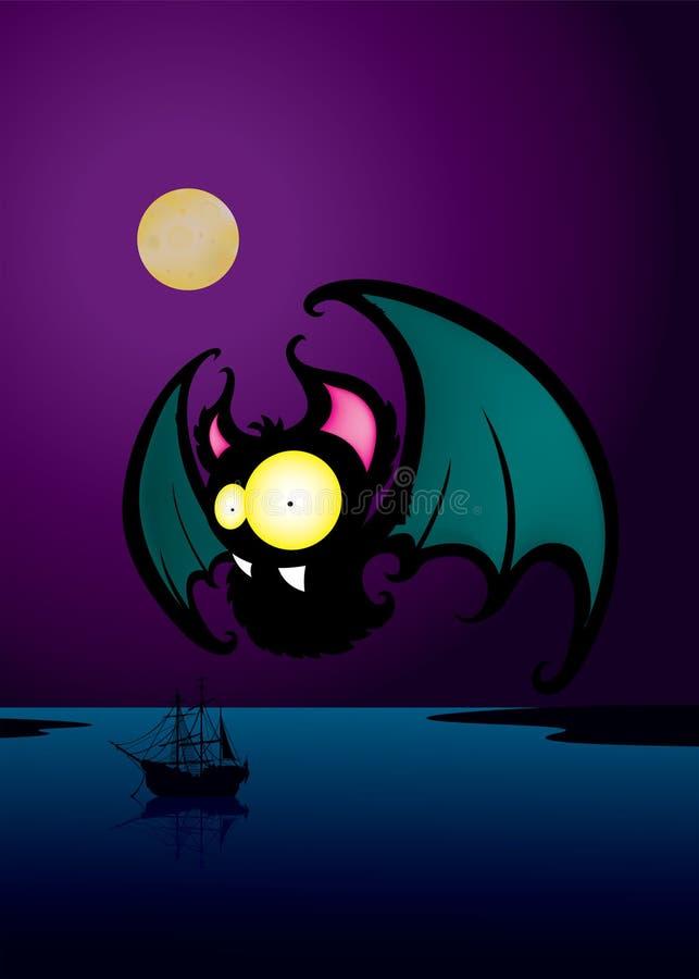 Download Nietoperz Śmieszny Przyglądający Postać Z Kreskówki Ilustracja Wektor - Ilustracja złożonej z moonlight, grafika: 57662605