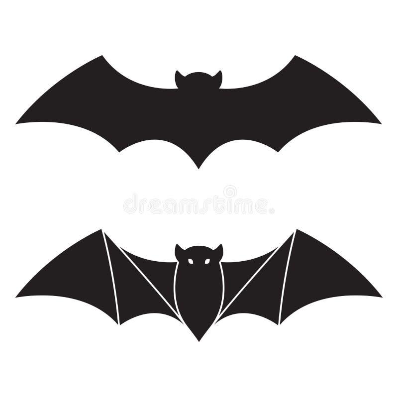 Nietoperz ikony loga doodle ilustraci Halloweenowy charakter royalty ilustracja