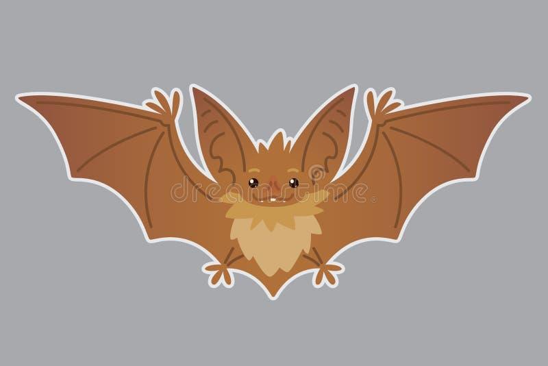 Nietoperza latanie Wektorowa ilustracja słysząca brown istota z szeroko rozpościerać skrzydłami w mieszkanie stylu z sylwetką royalty ilustracja