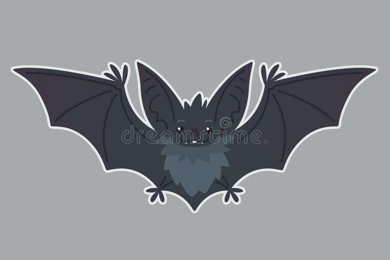 Nietoperza latanie Wektorowa ilustracja słysząca popielata istota z szeroko rozpościerać skrzydłami w mieszkanie stylu z sylwetką ilustracji