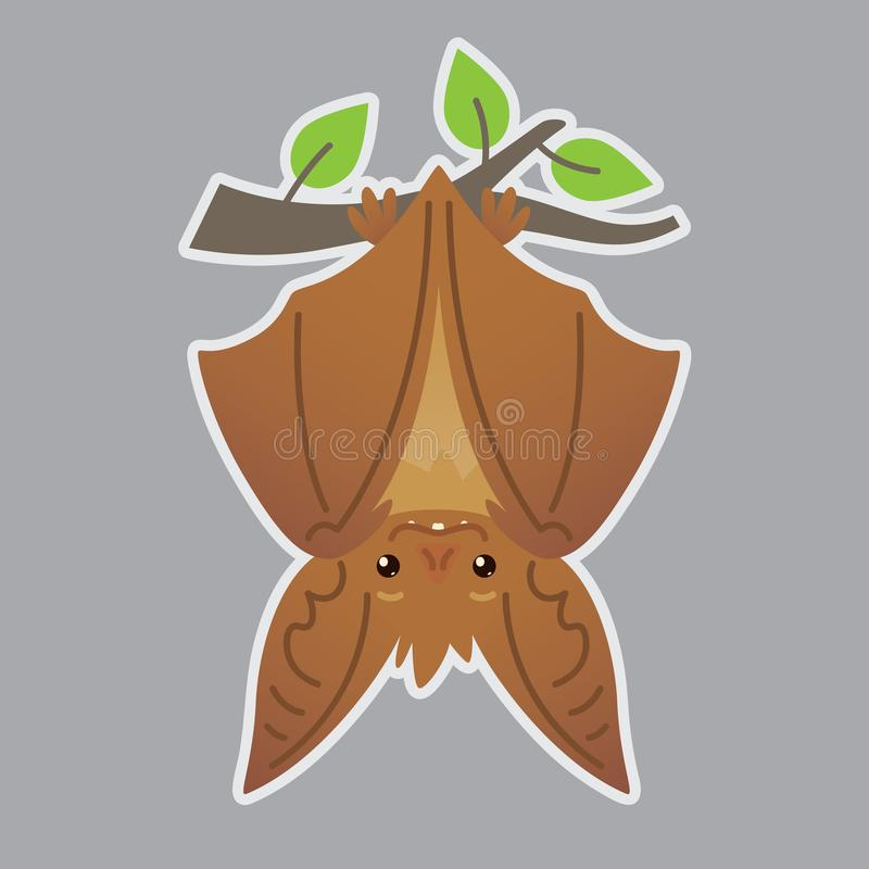 Nietoperza wręczać do góry nogami na gałąź Wektorowa ilustracja słysząca brown istota z zamkniętymi skrzydłami w mieszkanie stylu ilustracja wektor