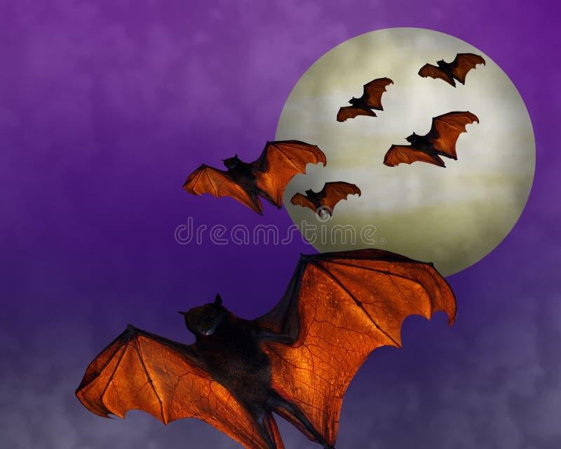 nietoperze folowali Halloween księżyc ilustracji