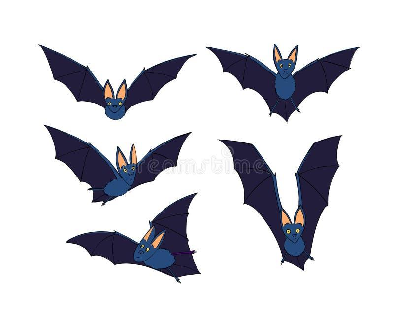 Nietoperze ustawiający Nocturnal zwierzę Symbol Halloween Nietoperz w locie ilustracji