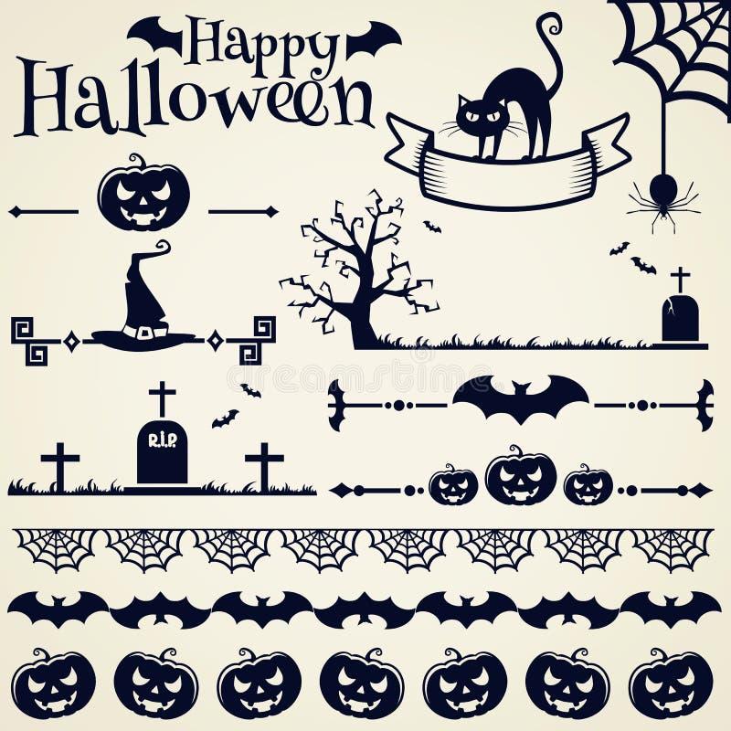 nietoperzy czerń projekta elementów oczy doniosły Halloween zawierają dźwigarki latarniowej o dyniowej tarantuli czarownicy kresk royalty ilustracja