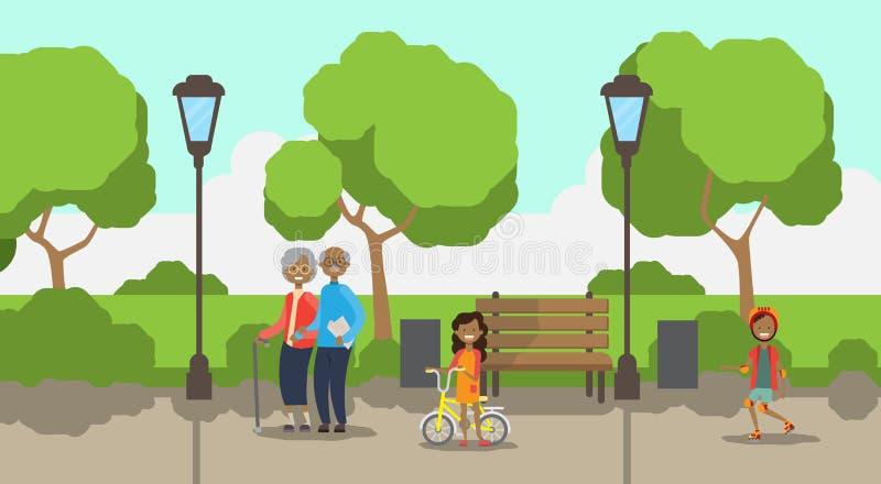 Nietos africanos de los abuelos, avatar integral sobre plantilla de los árboles del césped del verde de la lámpara de calle del b libre illustration