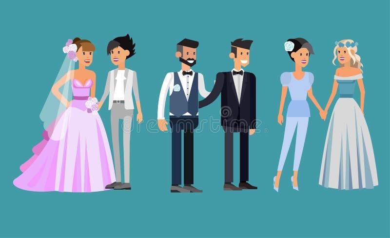 Nietradycyjna rodzina Szczęśliwy śliczny ślubny homoseksualista i lezbijka royalty ilustracja