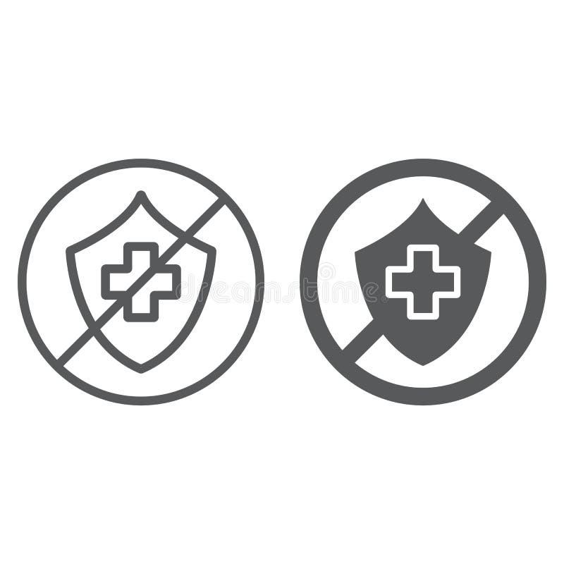 Nieubezpieczona linia, glif ikona, ochrona i życie, krzyżujący osłona znak, wektorowe grafika, liniowy wzór na bielu royalty ilustracja