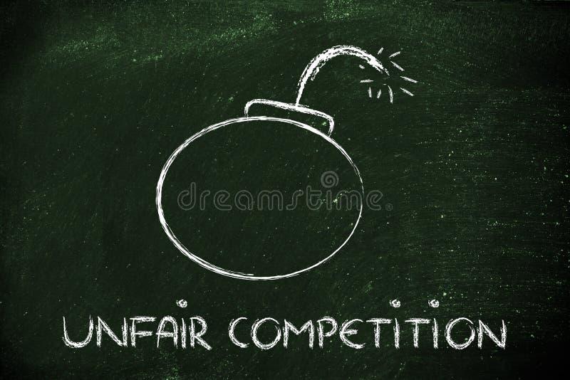 Nieuczciwej konkurenci zagrożenie, śmieszna bombowa metafora ilustracji