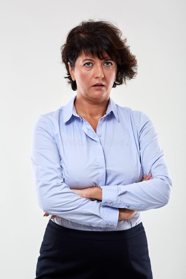 Nieufny bizneswomanu portret obrazy stock