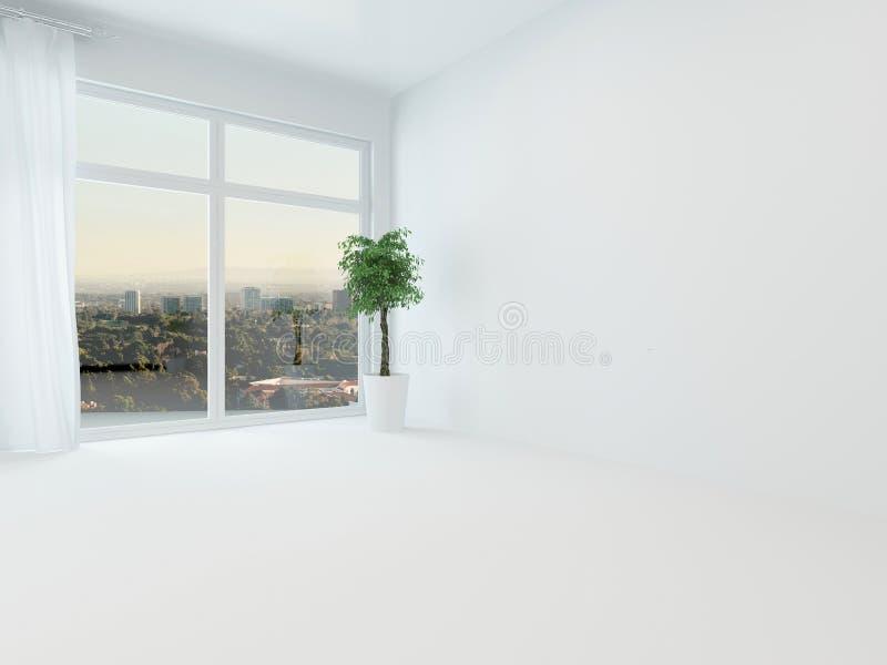 Nieumeblowanego białego mieszkania żywy pokój lub sypialnia ilustracji