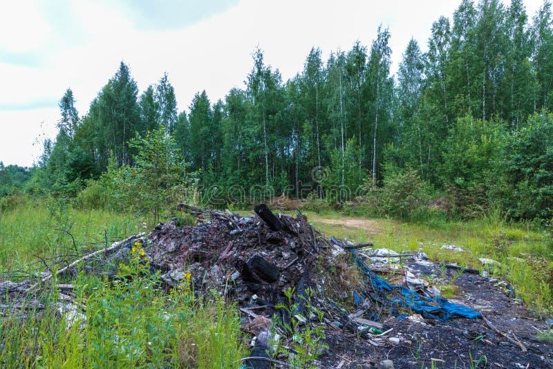 Nieupoważniony usyp śmieci wśród dzikiej natury blisko przemysłowych lub żywych terenów zdjęcie royalty free