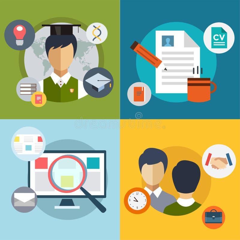 Nieuw baanonderzoek Infographic Arbeid, Bureau, Loupe vector illustratie