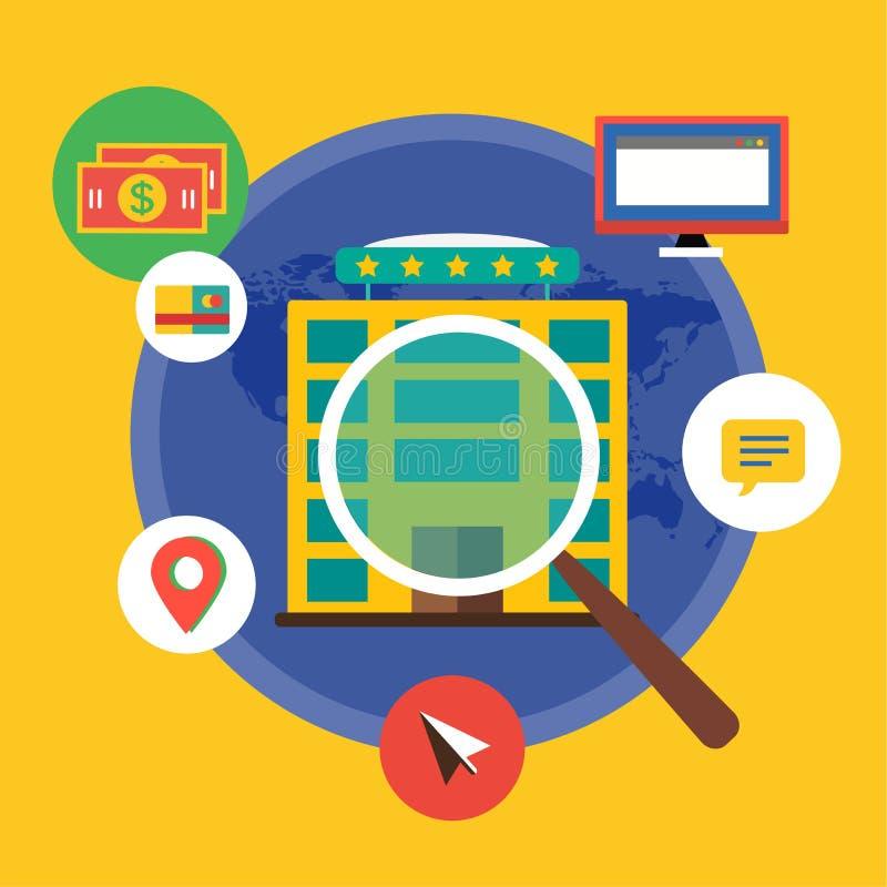 Nieuw baanonderzoek Infographic Arbeid, Bureau, Loupe royalty-vrije illustratie