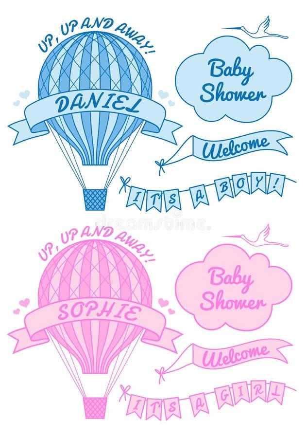 Nieuw babyjongen en meisje met hete luchtballon, vector stock illustratie