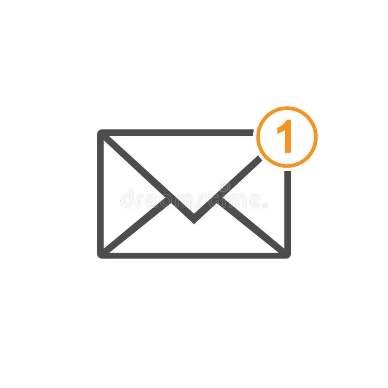 Nieuw binnenkomend berichtpictogram, berichtteken Post, e-mail Vector illustratie stock illustratie