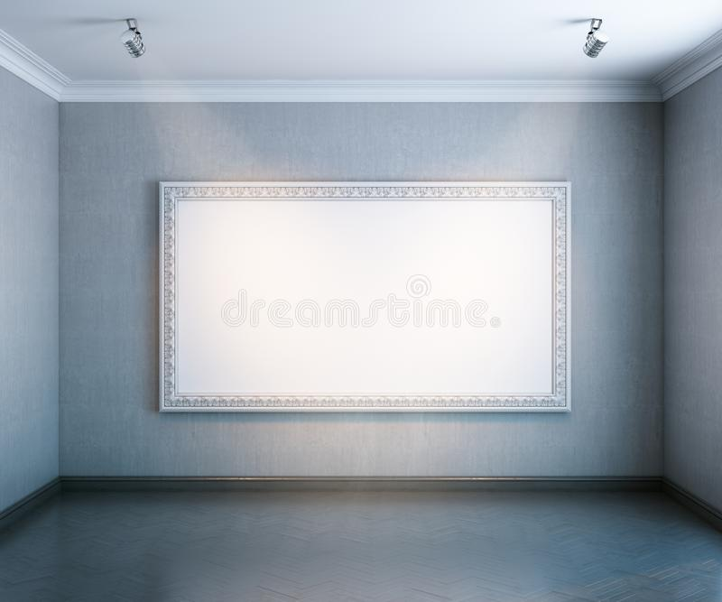 Nieuw binnenlands album met houten parket en leeg groot frame royalty-vrije illustratie
