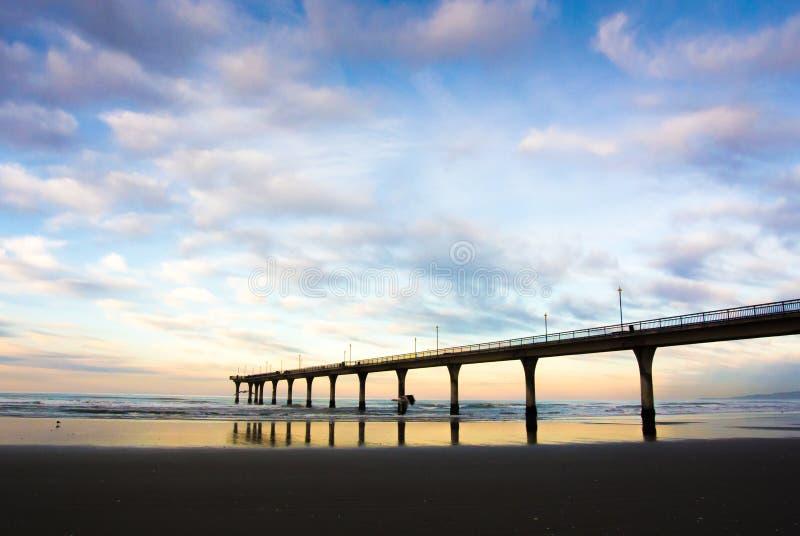 Nieuw Brighton Pier Sunset, Christchurch, Nieuw Zeeland royalty-vrije stock foto's