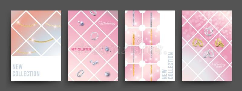 Nieuw de banners vectormalplaatje van inzamelingsjuwelen Gouden en zilveren kettingen, diamanten, trouwringenillustratie vector illustratie