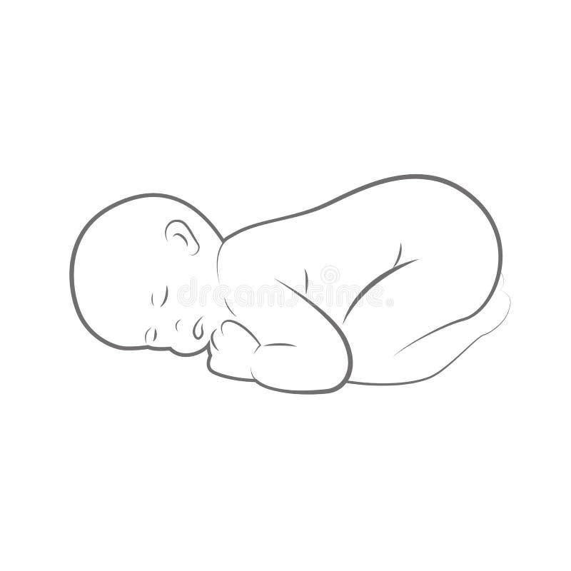 Nieuw - de geboren baby slaapt outlline van de lijntekening vector illustratie