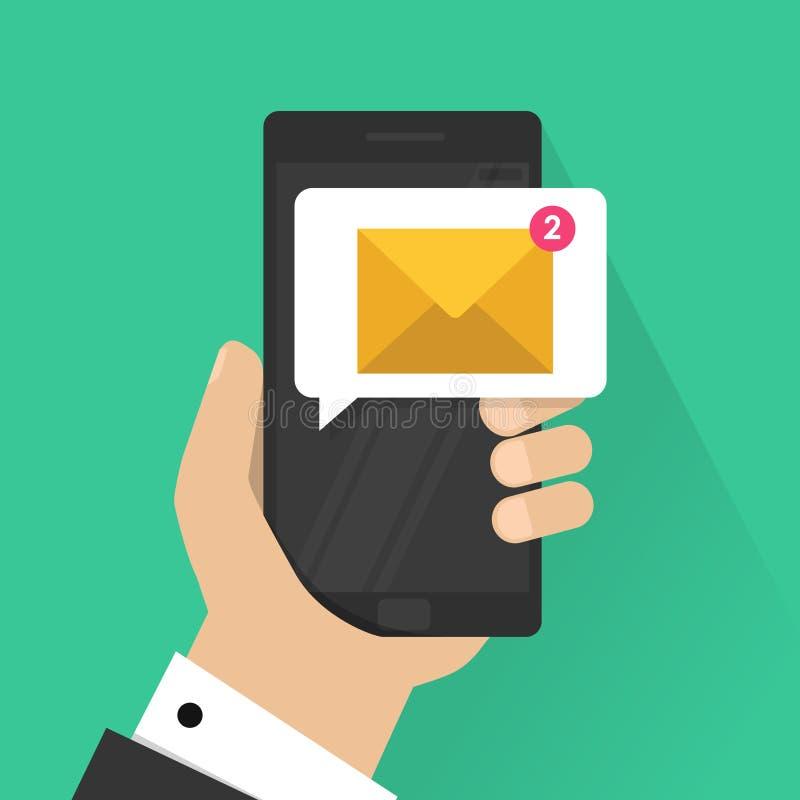 Nieuw e-mailbericht op mobiele telefoon vectorillustratie, het smartphonescherm met nieuw ongelezen e-mailbericht en gelezen royalty-vrije illustratie