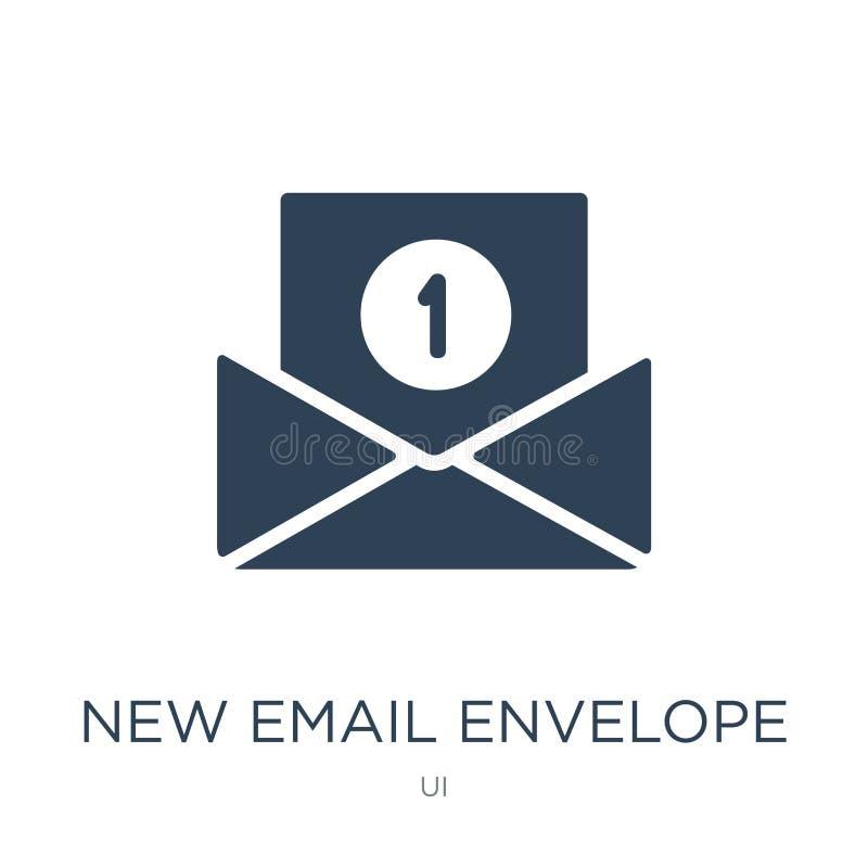 nieuw e-mailenveloppictogram in in ontwerpstijl nieuw e-maildieenveloppictogram op witte achtergrond wordt geïsoleerd nieuwe e-ma royalty-vrije illustratie