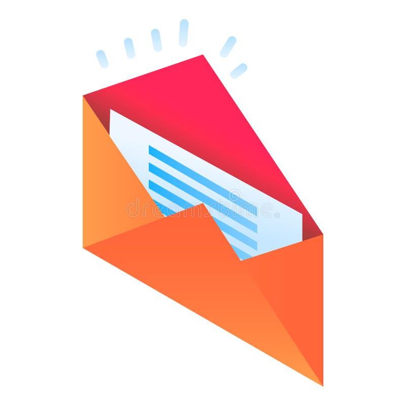 Nieuw e-mailpictogram, isometrische stijl vector illustratie