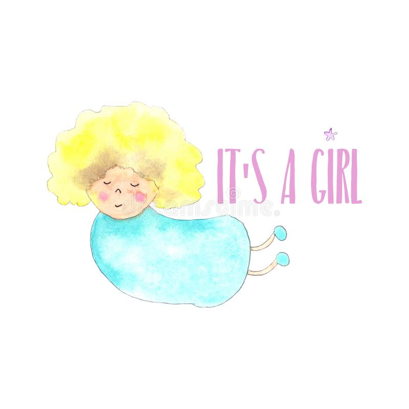 Nieuw engelenmeisje - geboren kaart vector illustratie