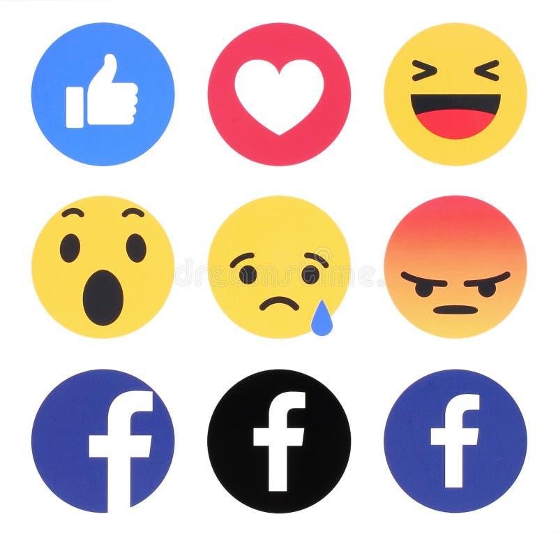 Nieuw Facebook zoals knoop 6 Begrijpende Emoji-Reacties vector illustratie