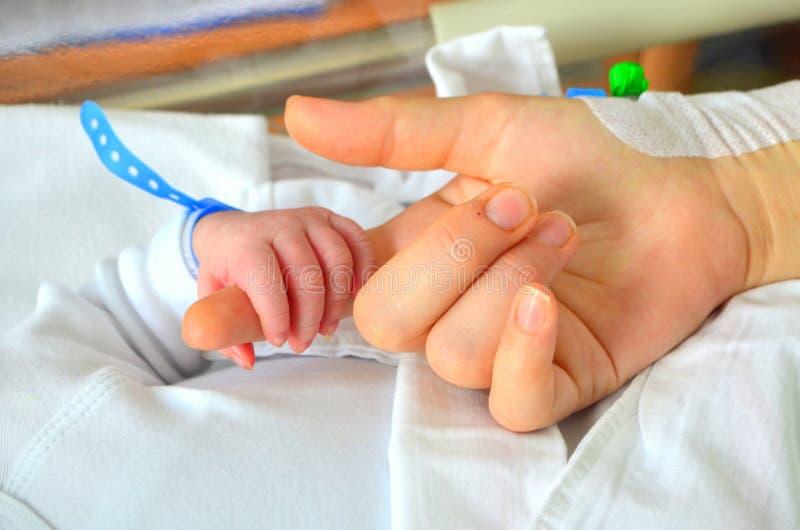 Nieuw - geboren babyhand royalty-vrije stock afbeeldingen