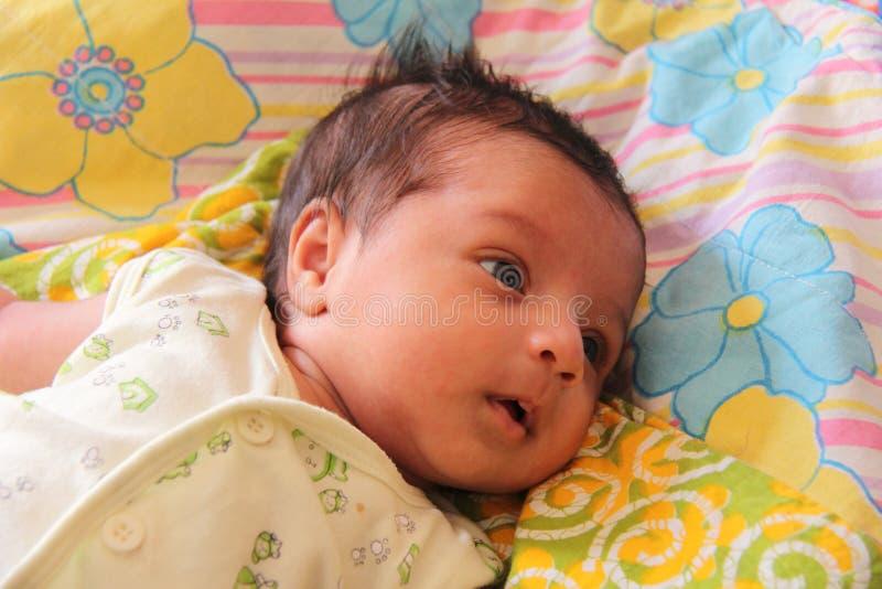 Nieuw - geboren babymeisje dat zeer kalm kijkt royalty-vrije stock foto's