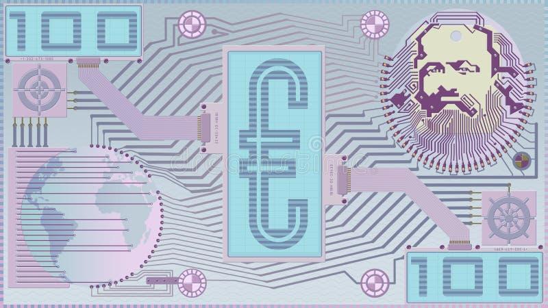 Nieuw Geld; Digitale Euro rekening Blauwe reeks royalty-vrije stock foto