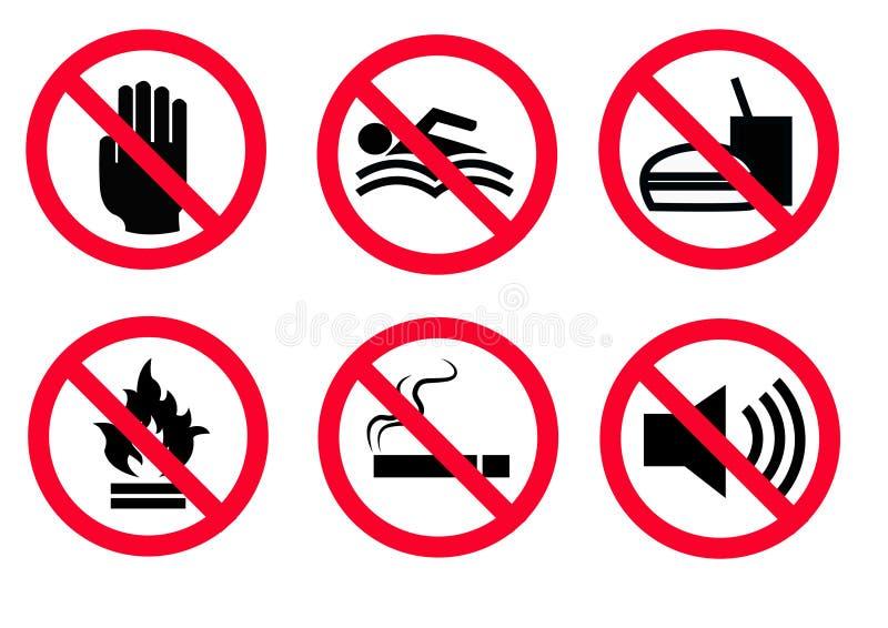 6 nieuw Gevaarpictogram Gevaarwaarschuwingsbord, geïsoleerde illustratie stock illustratie