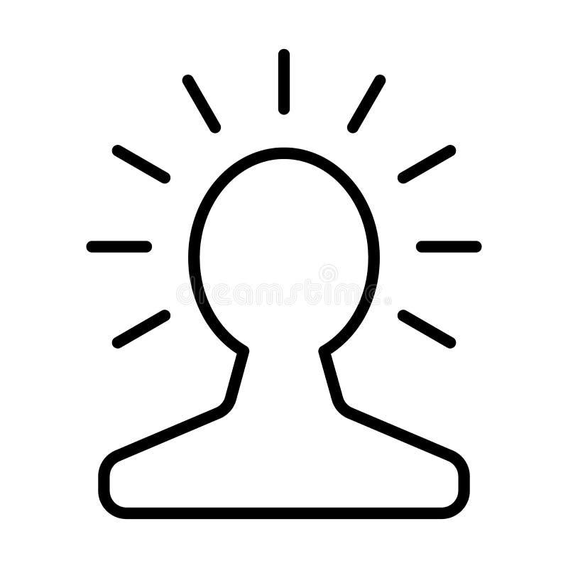 Nieuw helder idee in menselijk hoofdlijnpictogram Het concept van de Lightbulbcreativiteit Vector stock illustratie