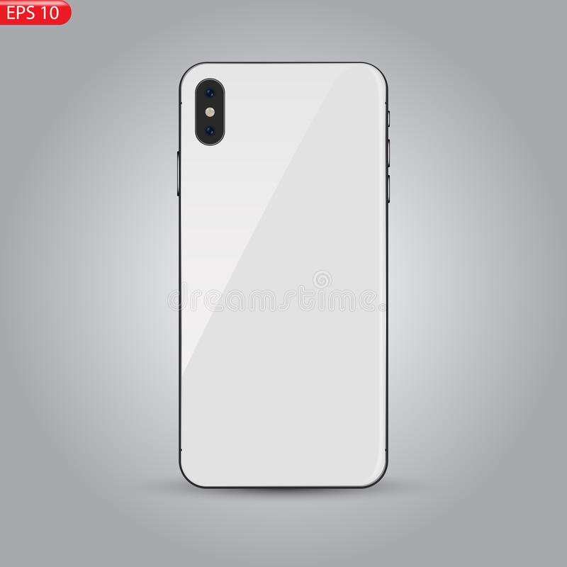 Nieuw hoog Gedetailleerd Realistisch die Smartphone gelijkend op iphone op witte Achtergrond wordt geïsoleerd stock illustratie
